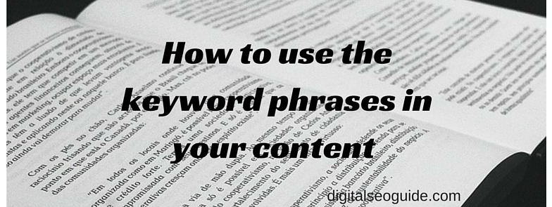 How to use keyword properly