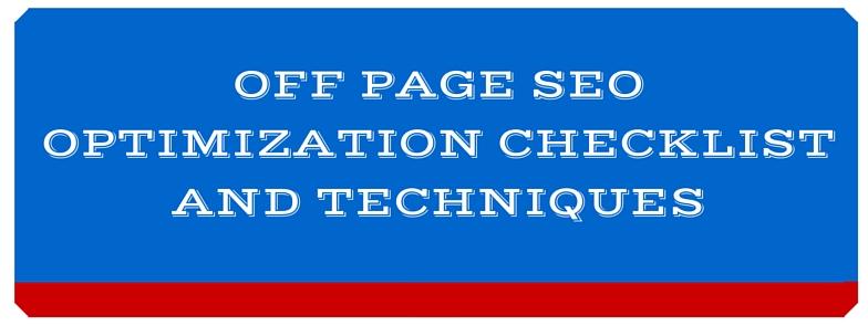 OFF page SEO Checklist,techniques 2015-2016